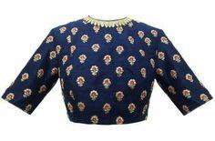 Sabyasachi, Carma, Royal blue matka lehenga with blue silk aari and meena blouse and mukaish dupatta with zardozi detai Choli Designs, Saree Blouse Designs, Blouse Patterns, Blouse Styles, Henna Designs, Embroidery Patterns, Hand Embroidery, Indian Attire, Indian Wear