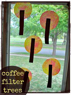 {Coffee Filter Fall Trees} So simple, so cute.