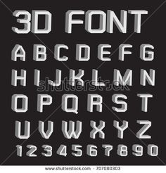 3D font letters and numbers