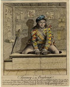 Satire on a Highland soldier's attempts to use a lavatory in London: see BMSat for full description. 1745 Etching with hand-colouring