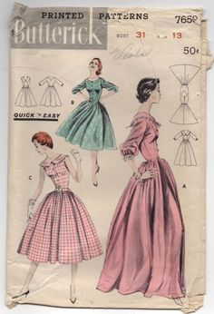 1950's Butterick One-Piece Gown or Day Dress with Full Skirt - Bust 31' - no. 7659 by backroomfinds on Etsy
