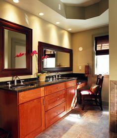 Master Bath- double vanity; makeup vanity; transitional
