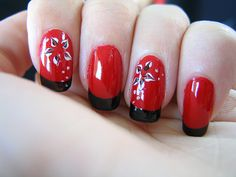 Oriental Nails In Red And Black