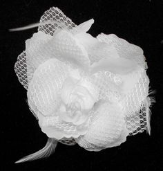 White Rose Hair Clip with Feather (can be used as Hair Band and Brooch also) (Cloth)