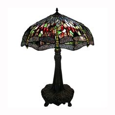 Warehouse of Tiffany S22-16+BB56 2 Light TiffanyStyle Dragonfly Table Lamp, Bronze - Lighting Universe