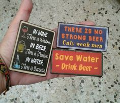 Fridge Magnets set of 3, magnet, kitchen magnet, handmade, wooden magnet, vintage, design, gift, wine, beer, drinking, bar, quotes, funny