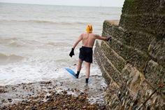 Martin Parr GB. England. Brighton. David Sawyers, member of the Brighton Sea Swimming Club. Guardian Cities Project. 2008.