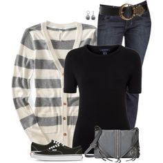 Striped Aeropostale Cardigan, created by daiscat on Polyvore