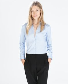 ZARA - WOMAN - BASIC POPLIN SHIRT #officetrends #inspiration #workwear