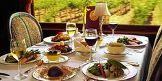 Hop on the wine train, yes, literally a train, in Napa Valley, California and taste your way around wine country. Read more on the latest Luxury Portfolio LUXETRENDS® or go to winetrain.com