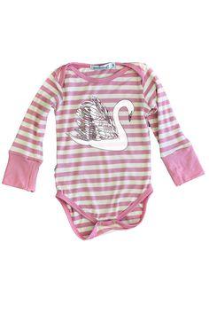 Long Sleeve Onesie, Pink Stripe Swans