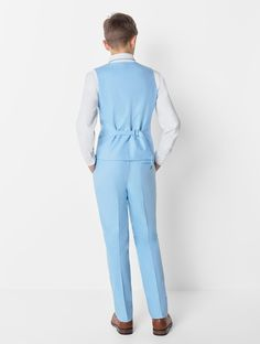Shop for boys light blue waistcoat suit at Roco. Perfect as a page boy suit with free UK delivery & 30 day returns. Blue Trousers, Trouser Suits, Boys Wedding Suits, Suits Harvey, Double Breasted Waistcoat, Suit Measurements, Boys Suits, Page Boy, Boy Blue
