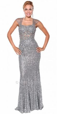 Atria Sequined Floral Illusion  Back Evening Gowns on shopstyle.com