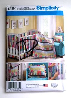 Simplicity 1384 Sewing Pattern Baby Crib Sheet Quilt Dust Ruffle Pillow Vertical Bumpers