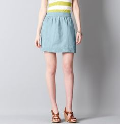 Petite Denim Chambray Mini Skirt - great lightweight, summery skirt!