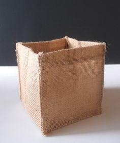 Burlap Cube Square Vase Holder, 5-inch x 5-inch
