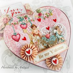 Hello everybody and happy - Valentine's Day - Today I bring you a quick project: altered box for some sweet chocolate. Valentines Greetings, Happy Valentines Day, Altered Boxes, Altered Art, Valentine Images, Spring Projects, Graphic 45, Time To Celebrate, How To Make Chocolate