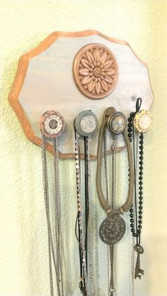 Wood flower necklace jewelry wall hanger organizer with vintage door knobs via Etsy