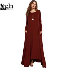 Find More Dresses Information about SheIn Burgundy Spring Long Sleeve Winter Dresses Women Dress 2016 Loose Asymmetrical Round Neck Shift Long Maxi Dress,High Quality long sleeve winter dresses,China maxi dress Suppliers, Cheap winter dress women from SheIn Official Store on Aliexpress.com