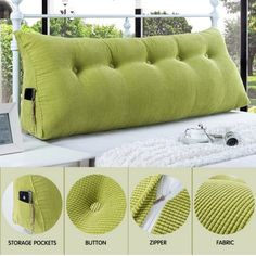 Sofa Bed Large Filled Triangular Wedge Cushion Bed Backrest Positioning Support Pillow Reading Pillow Office Lumbar Pad with Removable Cover Green 47 Inches Image 4 of 6 Wedge Pillow, Pillow Headboard, Bed Pillows, Cushion Pillow, Cushions On Sofa, Bed Linens, Bed Backrest, Buy Sofa, Diy Furniture