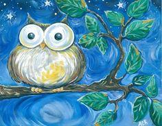 Owl Art Print- owl on a tree branch.  via Etsy.