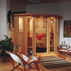 Sauna Heater, Tent Room, Spring Spa, Curved Glass, Hot Springs, Glass Door, Master Bath, At Home Workouts, Shelving