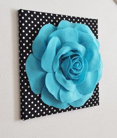 "Flower Wall Decor- Light Turquoise  Rose on Black and  White Polka Dot 12 x12"" Canvas Wall Art- 3D Felt Flower"