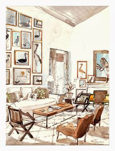 Illustrator Mita Corsini Bland is well known for her beautiful watercolour illustrations of elegant interiors...Here is her rendition of a Tom Sheerer Living Room...