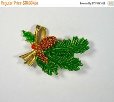 ON SALE Vintage Christmas Pine Bough and by KrisVintageClothing #GotVintage #Vintage #Jewelry