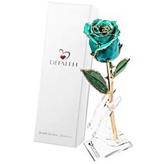 DeFaith Gold Dipped Real Rose, Forever Gifts for Her Anniversary Valentine's Day Christmas, Natural Shape and Attractive Luster, Teal Blue with Moon Stand Valentines Gifts For Her, Valentines Day, Faith In Love, Gold Dipped, Natural Shapes, Love Gifts, Teal Blue, Artificial Flowers, Simple Style