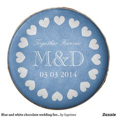 Blue and white chocolate wedding favor with hearts