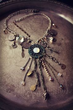 Tribal Assemblage Necklace Opal Eye Kuchi Tribal by theverdantmuse