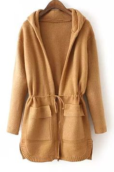 Solid Color Drawstring Hooded Long Sleeve Coat