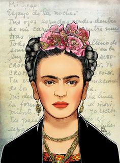 Check out the flowers in Kahlo's hair. Diego Rivera, Fridah Kahlo, Kahlo Paintings, Frida And Diego, Frida Art, Mexican Folk Art, Decoupage, Illustration Art, Canvas Art