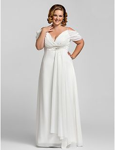 Plus Size White Women Dress A-line Off Shoulder V-neck Beaded Chiffon Evening Dress For Full Figure