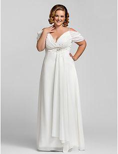 Plus Size White Women Dress A-line Off Shoulder V-neck Beaded Chiffon Evening Dress For Full Figure