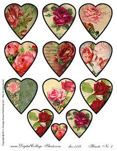 valentine's day ephemera | Instant Download Valentines Day Collage Sheet Framed Rose Hearts DCS ...