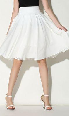 White High Waist Midi Skater Skirt