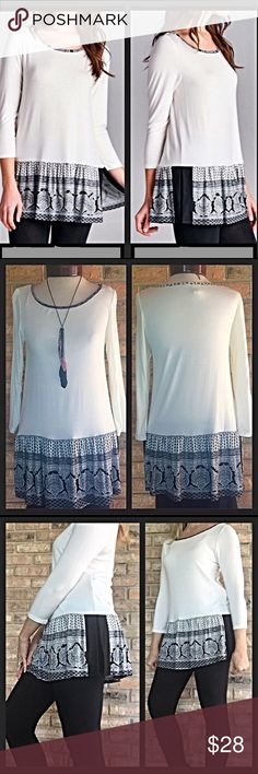 "Soft Trendy Tribal Split Hem Tunic Top SML Trendy Tribal split hem tunic in ivory & black. Butter soft rayon & spandex. Love the tribal print trim on scoop neck collar and on split bottom hem. Tons of fun flare!  Pair with leggings or skinnies all year long. Length 27"" - new from maker without tags 💕💕Small 32-34""B 27"" Length - Medium 34-36""B 28"" Length - Large 36-38""B - 29"" Length gingham Tops"