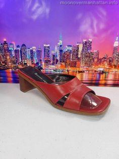 Womens shoes ETIENNE AIGNER Ginga RED LEATHER mule slide sandals heels sz 7.5 M #EtienneAigner #Slides