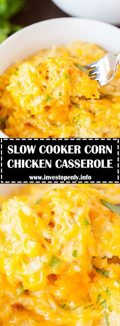 Slow Cooker Chicken Casserole Ingredients 4 boneless skinless chicken breasts 1 medium onion, chopped 1 can ounces cream of chicken s. Slow Cooker Casserole, Chicken Casserole, Casserole Dishes, Casserole Recipes, Slow Cooker Recipes, Crockpot Recipes, Cooking Recipes, Corn Recipes, Recipies