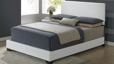 Global 8103-WH Bed - Pu leather bed. White modern bed.