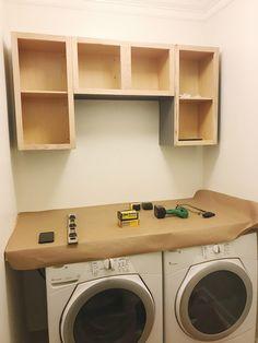 Farmhouse Laundry Room Installing Countertop and Cabinets Laundry Room Remodel, Laundry Room Signs, Laundry Closet, Laundry Rooms, How To Install Countertops, Folding Laundry, Farmhouse Laundry Room, Room Closet, Room Planning