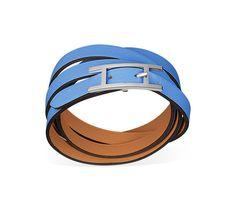 "Hapi 3 MM Hermes leather bracelet (size GM) Blue paradise swift calfskin<br /><br />Palladium plated hardware, 27.5"" long, 0.3"" wide, 7"" circumference.<br />"