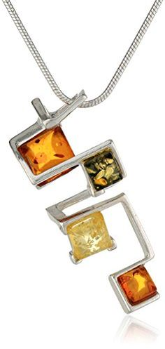"""Sterling Silver Multi-Color Amber Modern Necklace, 18"""" *** Find out @ http://www.amazon.com/gp/product/B002IKM82S/?tag=jewelry3638-20&pfg=020816180123"""