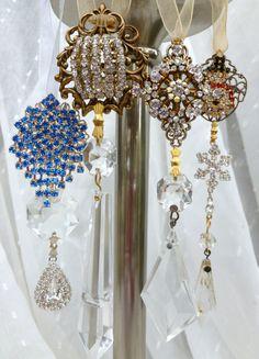Vintage Crystal Prism & Rhinestone CHRISTMAS Ornament Suncatcher TREE Wreath Star Seahorse  CHOICE of 4