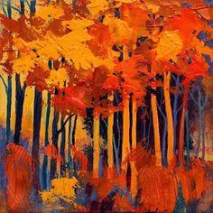 "Mixed Media Artists International: Abstract Mixed Media Landscape Tree Art Painting ""Autumn Daze"" by Colorado Mixed Media Abstract Artist Carol Nelson"