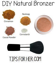 DIY Bronzer for soft, glowing skin. All natural, super easy to make and non toxic! What You'll Need: 1 tbsp. ground cinnamon 1 tbsp. cornstarch 1 tbsp. cocoa powder 1 tsp nutmeg Mix cornstarch and ...
