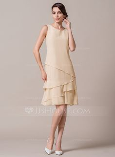 A-Line/Princess Scoop Neck Knee-Length Cascading Ruffles Zipper Up Regular Straps Sleeveless Yes 2015 Champagne Spring Summer Fall General Plus Chiffon Mother of the Bride Dress Mob Dresses, Short Dresses, Fashion Dresses, Bridesmaid Dresses, Wedding Dresses, Bride Dresses, Party Dresses, Special Occasion Dresses, Mother Of The Bride