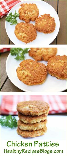 Crisp and golden, these delicious chicken patties are a huge hit with kids – and I have yet to meet a grownup who doesn't like them! Chicken Burger Patty Recipe, Chicken Patties, Low Carb Chicken Recipes, Low Carb Recipes, Cooking Recipes, Catering Recipes, Healthy Chicken, Healthy Recipes, Dinner Recipes For Kids